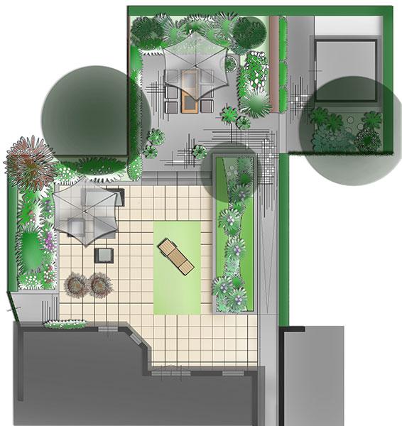 Dutch Quality Gardens Visio Vireo Contrastrijke Moderne Tuin Met Schaduwdoek In Steenbergen 7