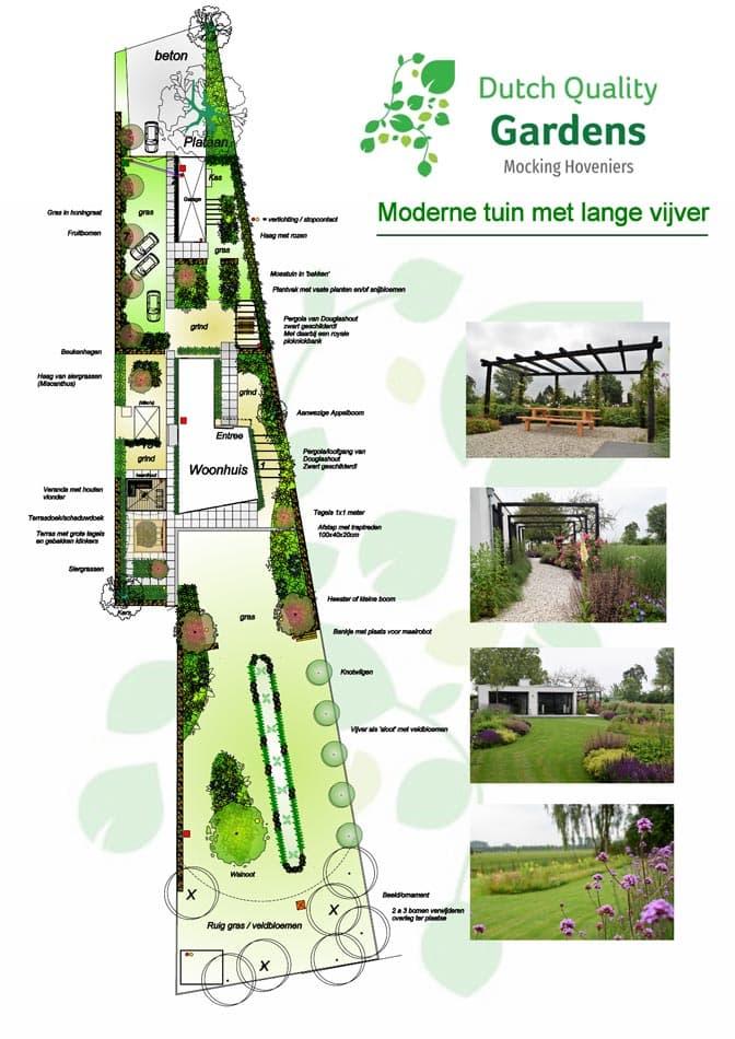 Ontwerp Moderne Tuin Met Vijver Mocking Hoveniers
